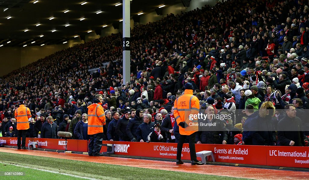 Liverpool supporters walk out from the stand to protest against the ticket orice hike at the 77th minutes during the Barclays Premier League match between Liverpool and Sunderland at Anfield on February 6, 2016 in Liverpool, England.