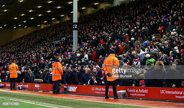 Liverpool supporters walk out from the stand to protest against the ticket price hike at the 77th minutes during the Barclays Premier League match...