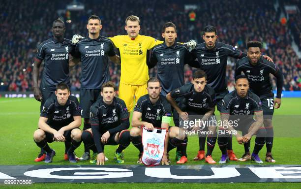 Liverpool team group shot Top Row Mamadou Sakho Dejan Lovren Simon Mignolet Roberto Firmino Emre Can and Daniel Sturridge Bottom Row James Milner...