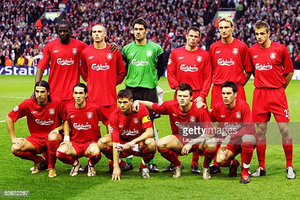 Liverpool team line up during the UEFA Champions League Quarter final first leg match between Liverpool and Juventus held at Anfield on April 5 2005...