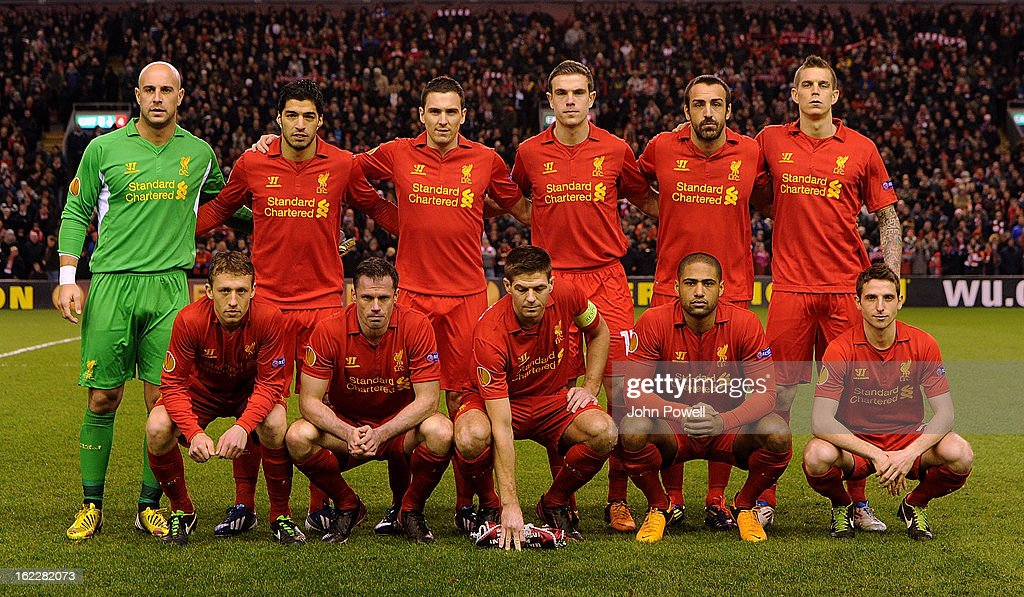 Liverpool team line up for group shot before of the UEFA Europa League Round of 32 second leg match between Liverpool and FC Zenit St Petersburg at Anfield on February 21, 2013 in Liverpool, England.