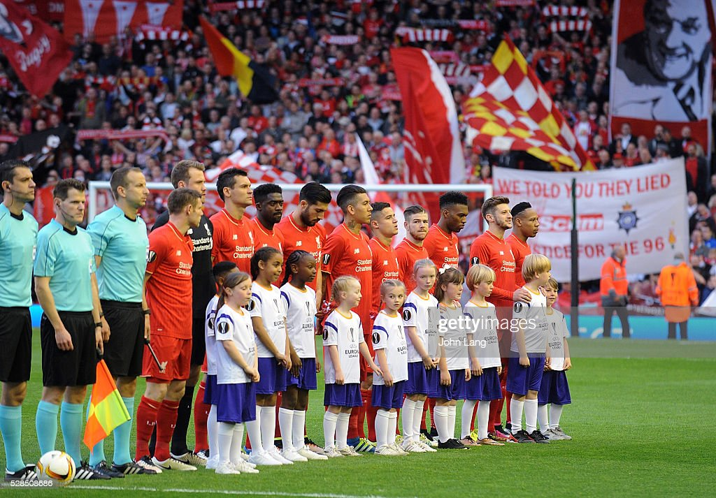 Liverpool team line up for the picture before the UEFA Europa League Semi Final: Second Leg match between Liverpool and Villarreal CF at Anfield on May 05, 2016 in Liverpool, England.