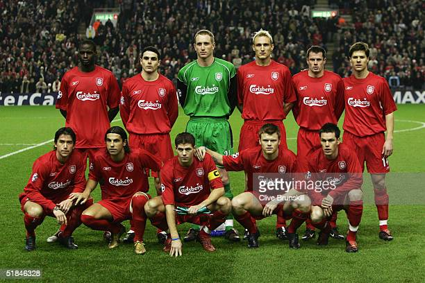 Liverpool team line up prior to the Champions League Group A match between Liverpool and Olympiakos at Anfield on December 8 2004 in Liverpool England