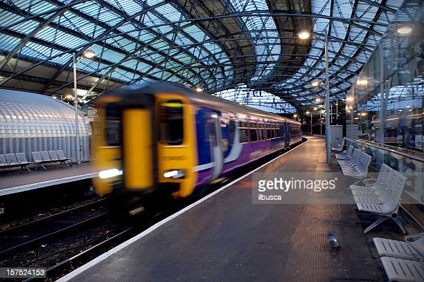 Liverpool train station motion blur