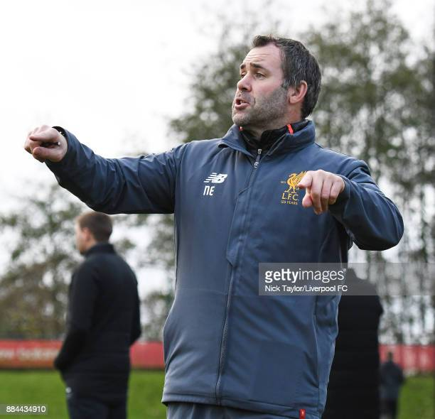Liverpool U18 goalkeeping coach Neil Edwards gives instructions during the Liverpool v Sunderland U18 Premier League Cup game at The Kirkby Academy...