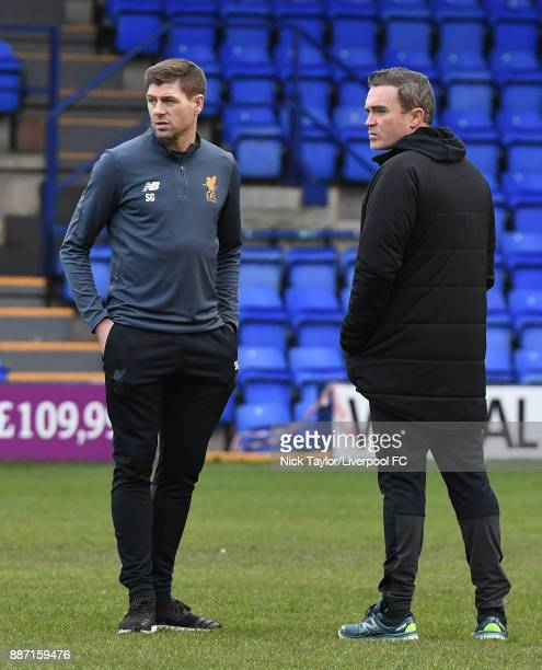 Liverpool U18 manager Steven Gerrard and coach Tom Culshaw during the UEFA Champions League group E match between Liverpool FC and Spartak Moskva at...