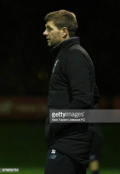 Liverpool U18 manager Steven Gerrard during the Liverpool v Sunderland U18 Premier League game at The Kirkby Academy on November 24 2017 in Kirkby...