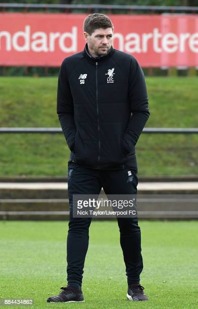Liverpool U18 manager Steven Gerrard during the warmup before the Liverpool v Sunderland U18 Premier League Cup game at The Kirkby Academy on...