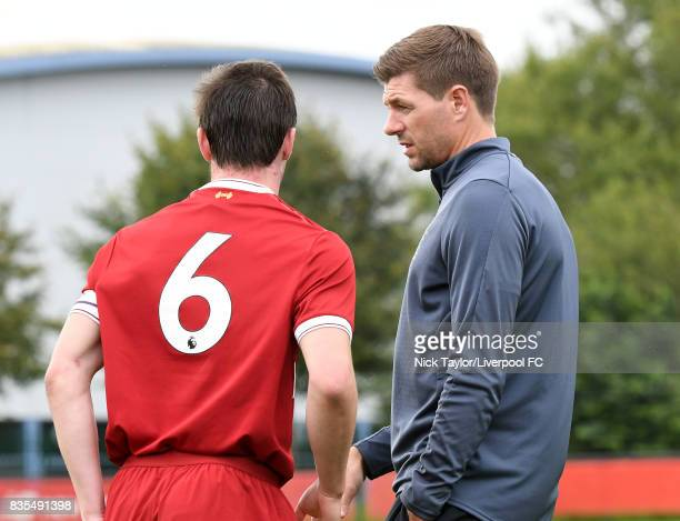 Liverpool U18 Manager Steven Gerrard talks to his captain Liam Coyle during the Liverpool v Blackburn Rovers U18 Premier League game at The Kirkby...