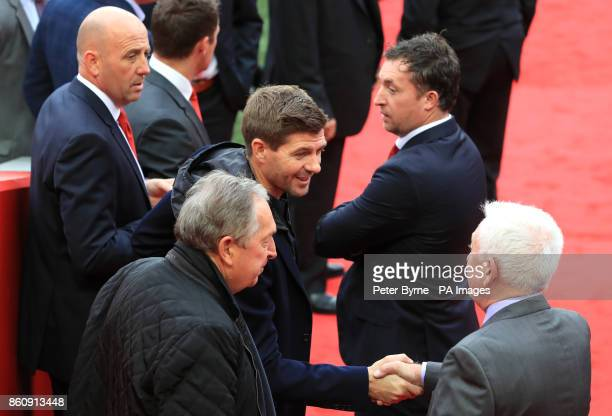 Liverpool Under 18 manager Steven Gerrard during an opening event at Anfield Liverpool