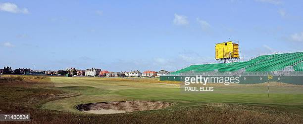 Final preparations are made to the scoreboard on the 18th hole of the Royal Liverpool Golf Course in Hoylake on Merseyside in northwest England 13...