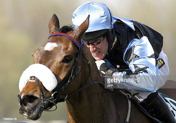 Grand National winner Silver Birch ridden by jockey Robbie Power clears the last fence during the Grand National Steeplechase at the Aintree...