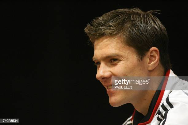 Liverpool footballer Xabi Alonso speaks during a press conference at Anfield in Liverpool north west England 30 April 2007 Liverpool is preparing to...