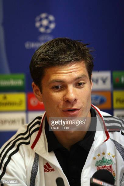 Liverpool footballer Xabi Alonso speaks during a press conference at Anfield Liverpool north west England 30 April 2007 Liverpool are preparing to...