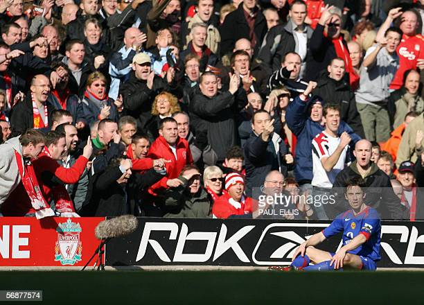 Liverpool supporters shout at Manchester United captain Gary Neville during their English FA Cup soccer match at Anfield Liverpool 18 February 2006...
