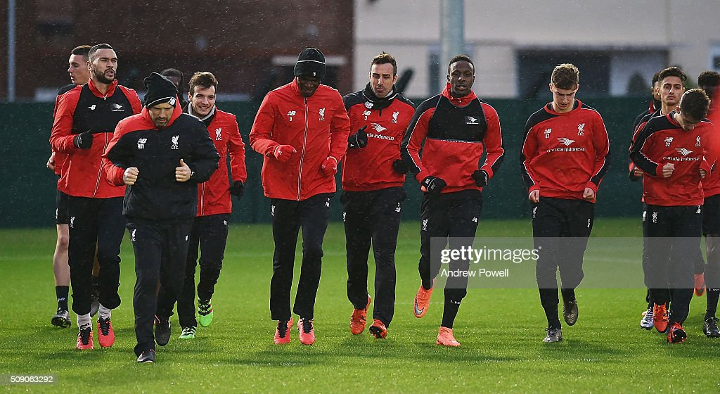 Liverpool warm up during a training session at Melwood Training Ground on February 8, 2016 in Liverpool, England.