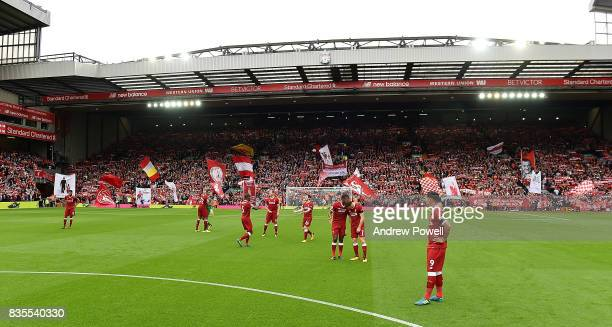 Liverpool with the Kop before the Premier League match between Liverpool and Crystal Palace at Anfield on August 19 2017 in Liverpool England