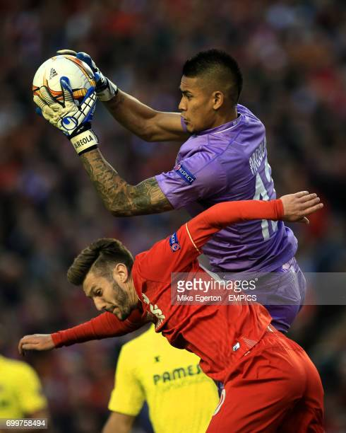 Liverpool's Adam Lallana collides with Villarreal goalkeeper Alphonse Areola
