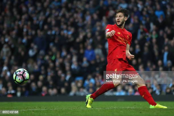 Liverpool's Adam Lallana during the Premier League match at the Etihad Stadium Manchester