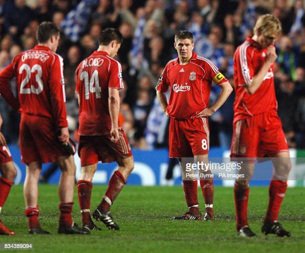 Liverpool's amie Carragher Xabi Alonso Steven Gerrard and Sami Hyypia stand dejected on the final whistle