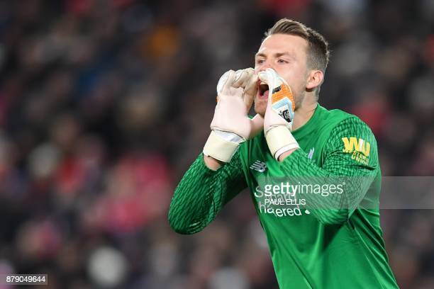 Liverpool's Belgian goalkeeper Simon Mignolet gestures during the English Premier League football match between Liverpool and Chelsea at Anfield in...