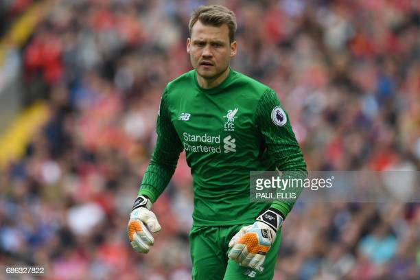 Liverpool's Belgian goalkeeper Simon Mignolet reacts during the English Premier League football match between Liverpool and Middlesbrough at Anfield...