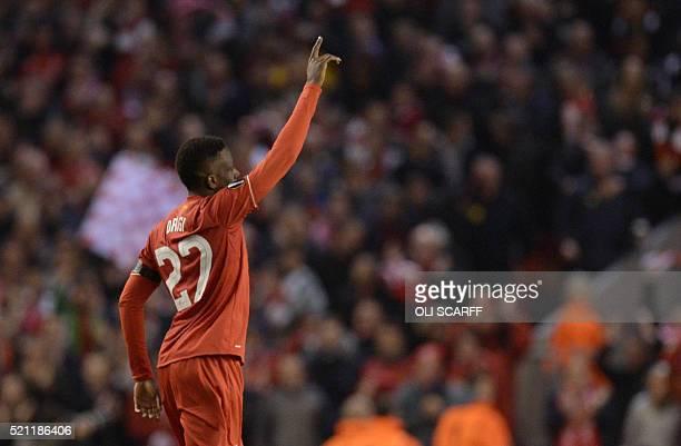 Liverpool's Belgian striker Divock Origi celebrates after scoring during the UEFA Europa league quarterfinal second leg football match between...