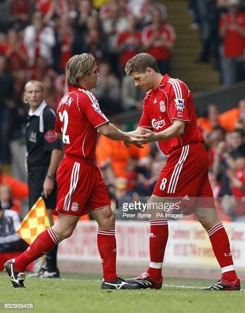 Liverpool's Boudewijn Zenden is substituted for Steven Gerrard