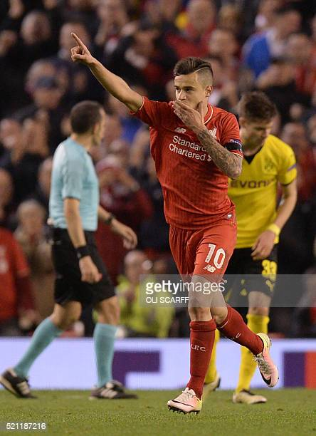 Liverpool's Brazilian midfielder Philippe Coutinho celebrates after scoring during the UEFA Europa league quarterfinal second leg football match...