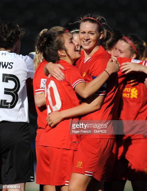 Liverpool's Captain Gemma Bonner and Katie Zelem celebrate after the final whistle against Bristol Academy