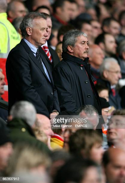 Liverpool's Chief Executive Rick Parry and Chairman David Moores in the stands prior to kick off