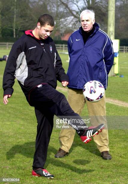 Liverpool's Chris McGrath shows his skills to Barclaycard Premier League's director of youth Dave Richardson at the exit trials at National Sports...