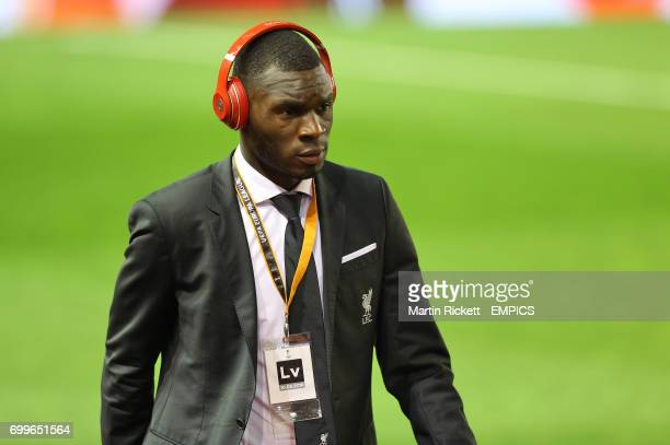 Liverpool's Christian Benteke arriving before the game