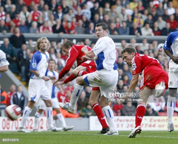 Liverpool's Craig Bellamy hits the ball into the back of the net to score the equalizer