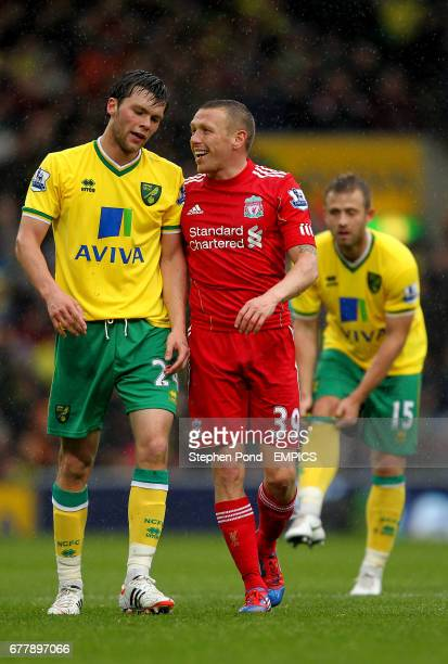Liverpool's Craig Bellamy taunts Norwich City's Jonny Howson during the match
