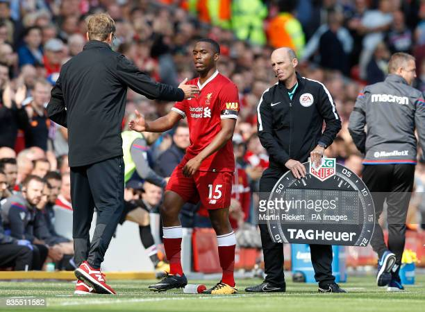 Liverpool's Daniel Sturridge is subbed during the Premier League match at Anfield Liverpool