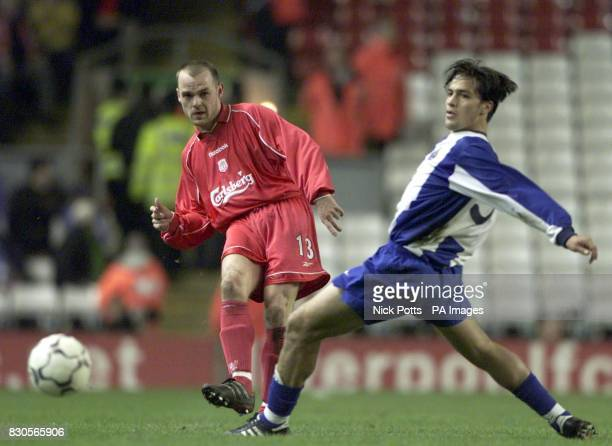 LEAGUE Liverpool's Danny Murphy gets ball past FC Porto's Carlos Paredes during their UEFA Cup Quarter Final 2nd leg against FC Porto at Anfield