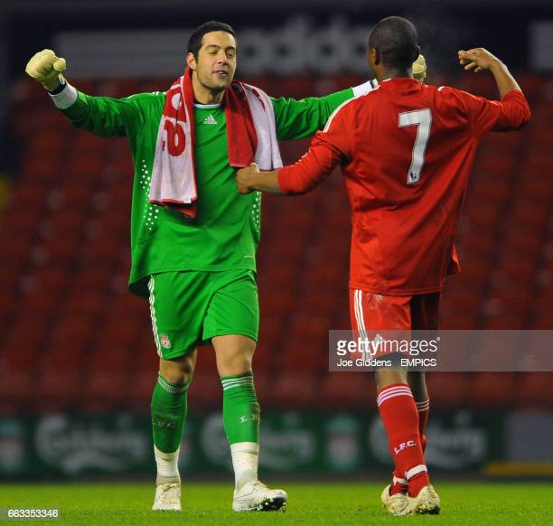 Liverpool's David Amoo and goalkeeper Dean Bouzanis celebrate victory