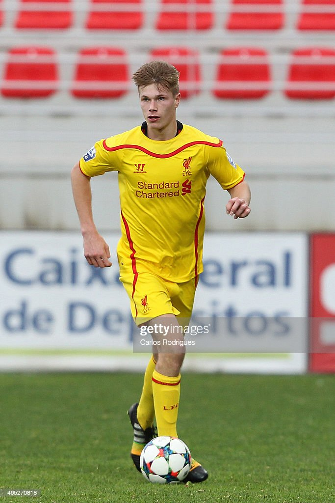 Liverpool's defender Daniel Cleary in action during the UEFA Youth League match between SL Benfica and Liverpool FC on February 24 2015 in Seixal...