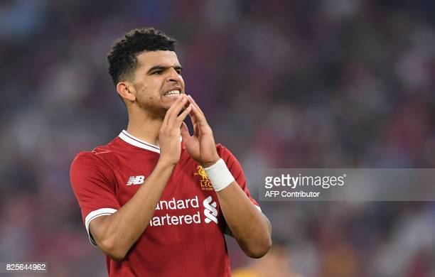 Liverpool's defender Dominic Solanke reacts during the final Audi Cup soccer match between Atletico Madrid and FC Liverpool in the stadium in Munich...