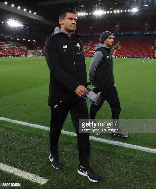 Liverpool's Dejan Lovren arrives for the UEFA Champions League Group E match at Anfield Liverpool
