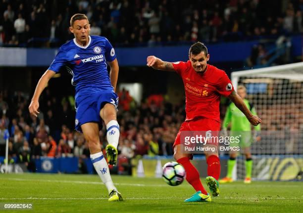 Liverpool's Dejan Lovren in action with Chelsea's Nemanja Matic