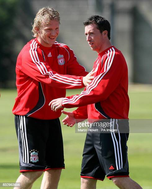 Liverpool's Dirk Kuyt and Robbie Fowler during a training session at Melwood Liverpool