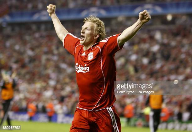 Liverpool's Dirk Kuyt celebrates after scoring the winning penalty during the penalty shootout