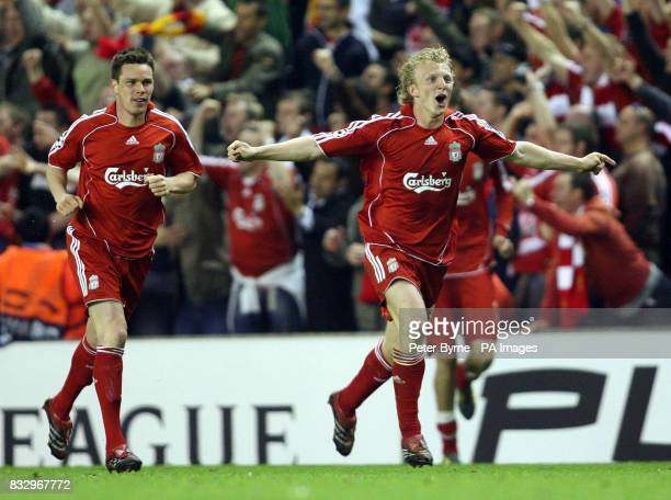 Liverpool's Dirk Kuyt celebrates after scoring the winning penalty during the UEFA Champions League SemiFinal second leg match at Anfield Liverpool