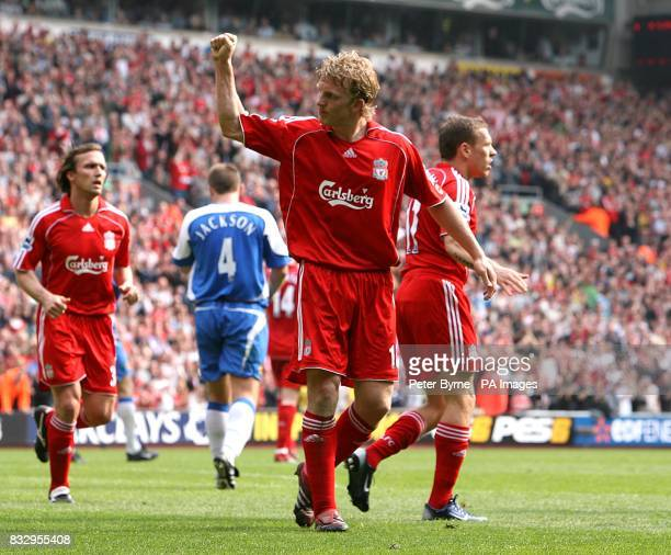 Liverpool's Dirk Kuyt celebrates scoring his second goal of the match