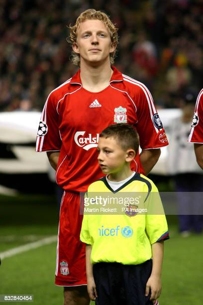 Liverpool's Dirk Kuyt lines up before kick off
