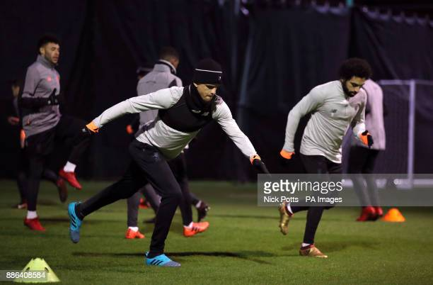 Liverpool's Dominic Solanke and Mohamed Salah during a training session at Melwood Training Ground Liverpool