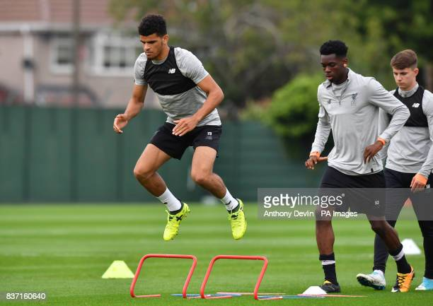 Liverpool's Dominic Solanke during a training session at Melwood Training Ground Liverpool
