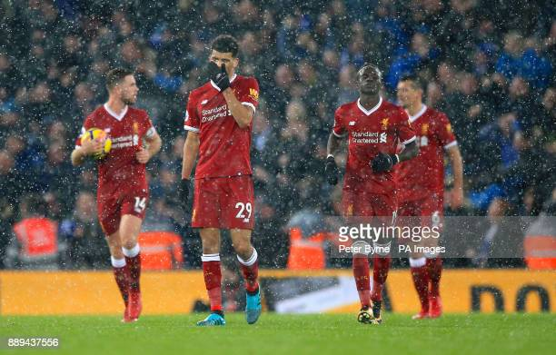Liverpool's Dominic Solanke shows his frustration after his side concede during the Premier League match at Anfield Liverpool